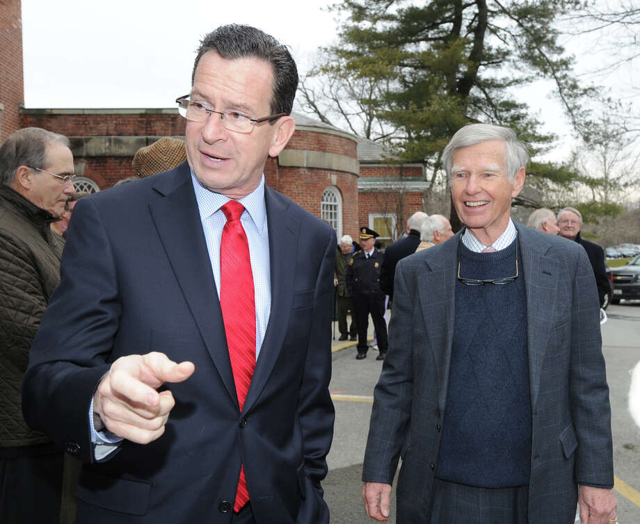 At left, Gov. Dannel P. Malloy with David Ormsby, Nathaniel Witherell board chairman, prior to the groundbreaking ceremony to celebrate the start of the long-awaited construction project to renovate and improve Nathaniel Witherell in Greenwich, Thursday afternoon, Jan. 17, 2013. Photo: Bob Luckey / Greenwich Time