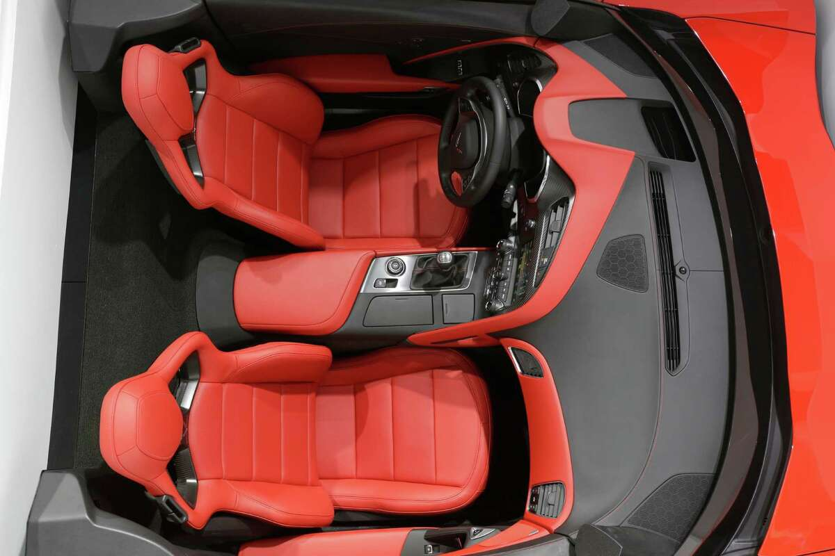 The interior of the Chevrolet Corvette Stingray is displayed at the North American International Auto Show in Detroit, Tuesday, Jan. 15, 2013. (AP Photo/Carlos Osorio)