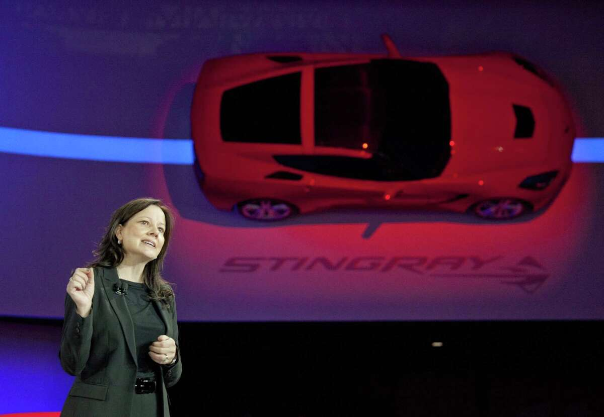 Mary Barra, GM Senior Vice President, Global Product Development introduces the Chevrolet 2014 C7 Corvette Stingray at the 2013 North American International Auto Show at Cobo Center on Monday, January 14, 2013, in Detroit. (Kathleen Galligan/Detroit Free Press/MCT)
