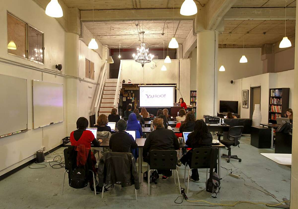 Liz Howard leads the class as woman attend a seminar on the Introduction to Javascript Workshop at the Citizen Space on Second St. on Thursday Jan. 10, 2013, in San Francisco, Calif. Girl Develop It San Francisco sponsors the meet-up workshop directly focused on woman.
