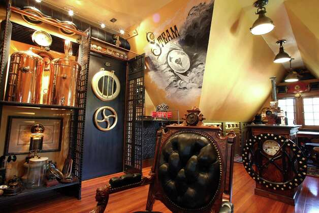 At the steampunk decorated home of Bruce and Melanie Rosenbaum, the 20,000 leagues under the sea office of his. (John Tlumacki/The Boston Globe via Getty Images) Photo: Boston Globe, Multiple / 2011 - The Boston Globe