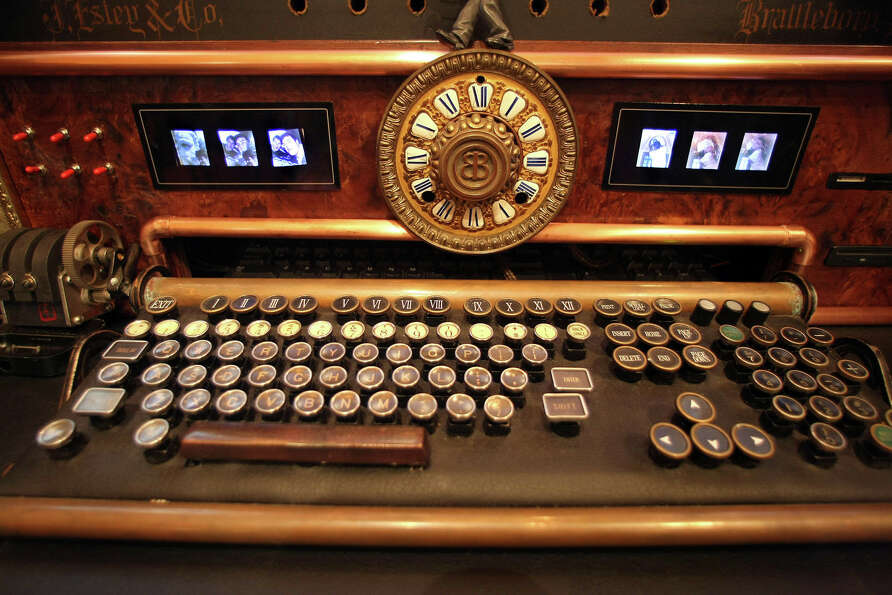 At the steampunk decorated home of Bruce and Melanie Rosenbaum, an antique keyboard with inserted ch
