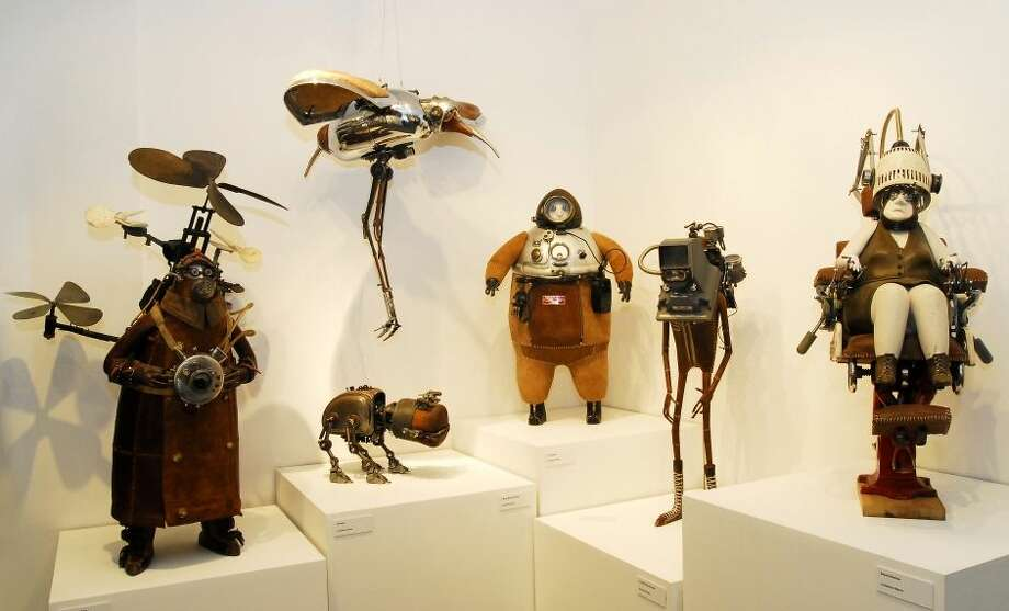 Belgian artist Stephane Halleux's fantastical figures from the Steampunk display at the Museum of the History of Science in Oxford University, United Kingdom, in 2009. The museum was the first museum to curate a Steampunk exhibition, according to Laura Ashby, Audience Development Officer for the museum. (Museum of the History of Science, Oxford) Photo: Ellison, Jake, Multiple