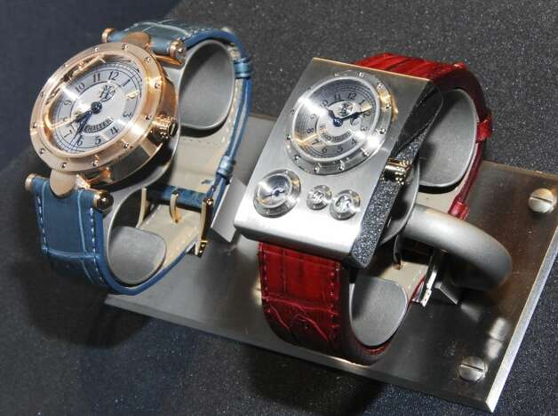 Two watches by Haruo Suekichi from the Steampunk display at the Museum of the History of Science at Oxford University, United Kingdom, in 2009. The museum was the first museum to curate a Steampunk exhibition, according to Laura Ashby, Audience Development Officer for the museum. (Museum of the History of Science, Oxford) Photo: Ellison, Jake, Multiple