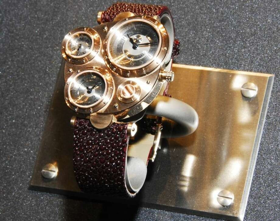 A stunning watch by Japanese artist Haruo Suekichi from the Steampunk display at the Museum of the History of Science in Oxford University, United Kingdom, in 2009. The museum was the first museum to curate a Steampunk exhibition, according to Laura Ashby, Audience Development Officer for the museum. (Museum of the History of Science, Oxford) Photo: Ellison, Jake, Multiple