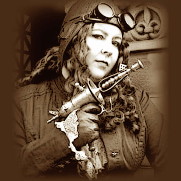 Diana Vick, vice chair of Steamcon®, dressed in steampunk regalia. Check out the group's main page