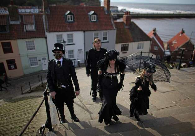 Goths and Steampunks walk through Whitby during Whitby Goth Weekend on April 27, 2012 in Whitby, England. Photo: Christopher Furlong, Multiple / 2012 Getty Images