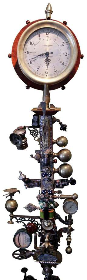 Bruce Rosenbaum's home has become a steampunk showcase. A converted coat rack. (Bill Greene/The Boston Globe via Getty Images) Photo: Boston Globe, Multiple / 2012 - The Boston Globe