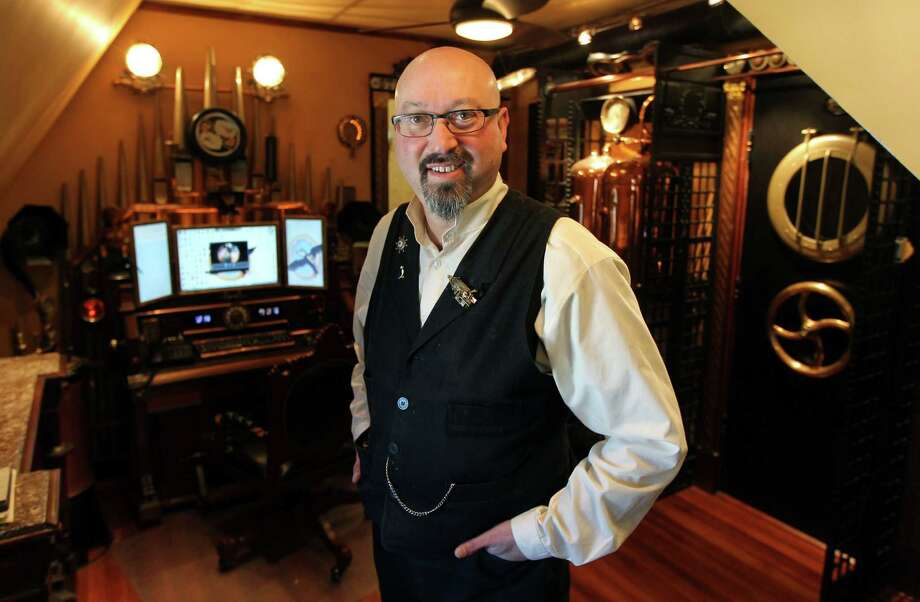 Bruce Rosenbaum, a lover of steampunk culture, at his home which has become a steampunk showcase. (Bill Greene/The Boston Globe via Getty Images) Photo: Boston Globe, Multiple / 2012 - The Boston Globe