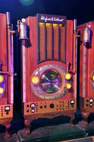 A custom steampunk-style Hughes And Kettner speaker cabinet. Part of Canadian progression rock band Rush's touring equipment. During a shoot for Total Guitar Magazine in 2011. (Gavin Roberts/Total Guitar Magazine via Getty Images) Photo: Total Guitar Magazine, Multiple / 2011 Future Publishing