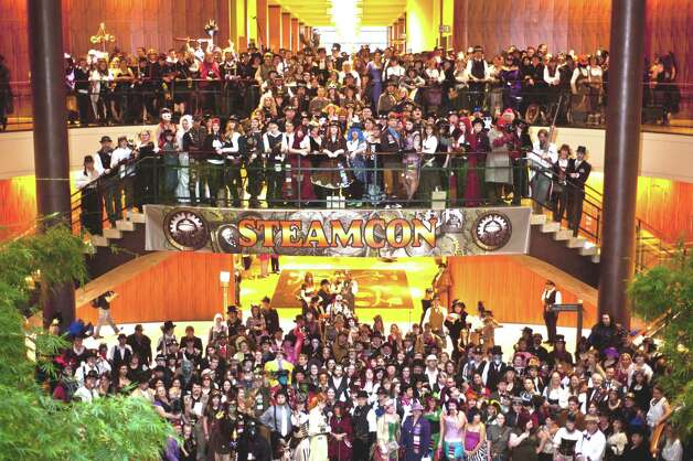 Steamcon IV group photo in Bellevue, 2012. Check out the groups main page for more photos and details related to Steamcon and its upcoming events. (Stopped Motion Photography) Photo: Amber Clark, Multiple / Stopped Motion Photography