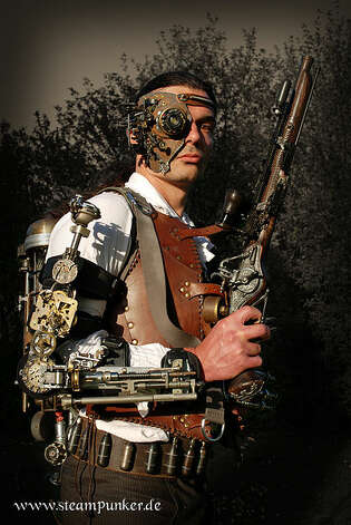 One of the more involved steampunk outfits incorporating mind, flesh, gears, copper rivets and more. (Alexander Schlesier/Wikimedia Commons) Photo: Multiple