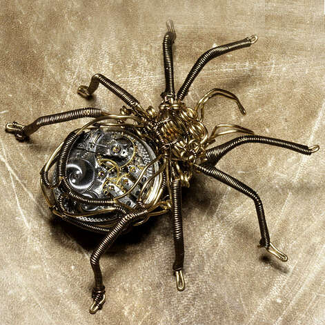 A steampunk brass spider. (Catherinette Rings Steampunk (Daniel Proulx)/ Wikimedia Commons) Photo: Multiple