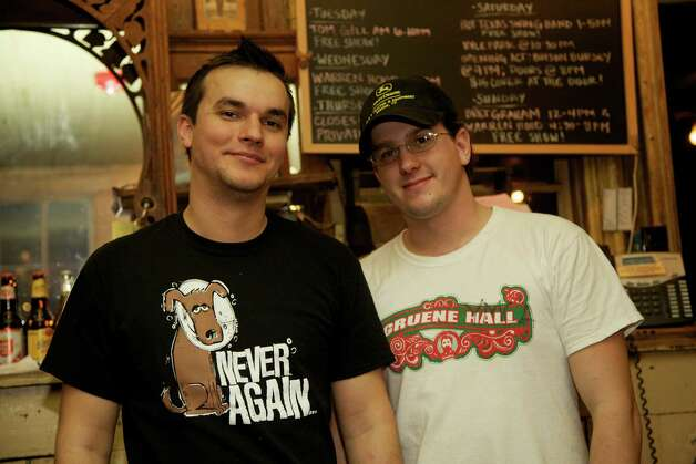 Jeremiah Garza and Robert Lewis are working the bar at Gruene Hall.
