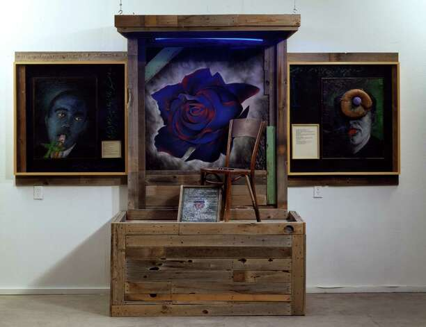 "Dugout at UH Blaffer Gallery. Terry Allen, Blue Rose (DUGOUT Stage 2), 2000-01. Mixed media assemblage 89 x 126 x 34 1/4 in (226.1 x 320 x 87 cm). Courtesy the Artist and L.A. Louver Gallery, Venice, CA.  HOUCHRON CAPTION (04/20/2005) SECSTAR COLORFRONT:  SETTING A STAGE: ""Blue Rose,"" one of Terry Allen's tableaux from ""Dugout,"" a multipart exhibition at the Blaffer Gallery Photo: Terry Allen / Handout CD"