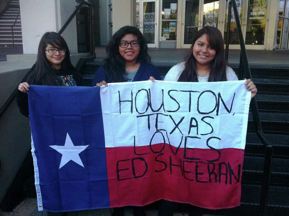 Ed Sheeran fans Giselle Herrera, 15, left; Jennifer Ortega, 15; and Maria Chaverria, 15, arrived at 8 a.m. to stand in line. Joey Guerra/Chronicle Photo: Joey Guerra/Chronicle, Joey Guerra
