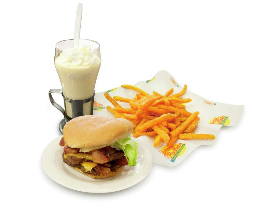 Check out these extremely fatty chain restaurant dishes:Bacon Cheddar Double at Johnny Rocket's: 1,770 calories, 50 grams of saturated fat, 2,380 milligrams of sodium. Add sweet potato fries and a milkshake, CSPI says, and you could make your meal 3,500 calories.