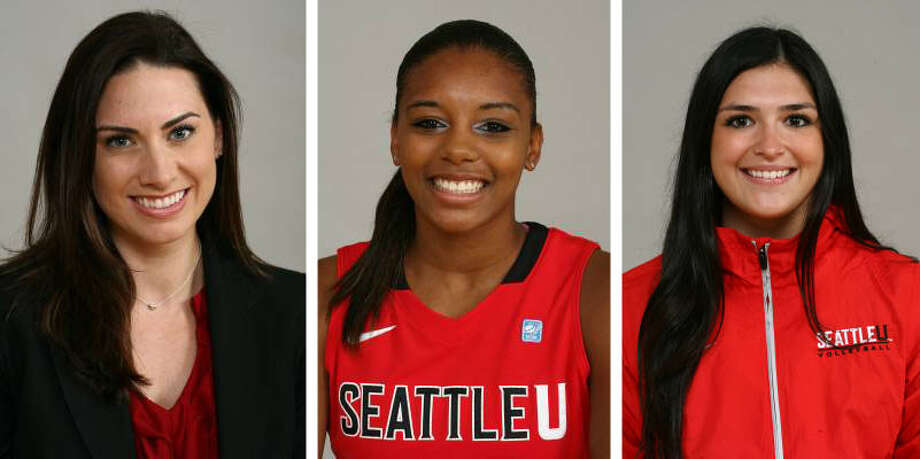 9. Seattle U's Kristen O'Neill, Daidra Brown and Karina MiastkowskaFrom left to right: It's a trio of Seattle U associate head basketball coach Kristin O'Neil, basketball player Daidra Brown and volleyball player Karina Miastkowska. As a player at the U-Dub, O'Neill was on the list in 2005. Brown likes to travel, fish, dance and shop. Miastkowska is an international business major who speaks fluent Polish. Photo: GoSeattleU.com, Coutesy Photo / GoSeattleU.com
