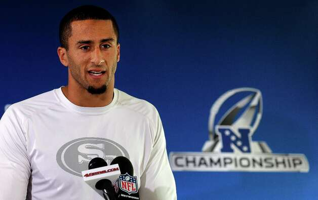 San Francisco 49ers quarterback Colin Kaepernick speaks at an NFL football media availability in Santa Clara, Calif., Wednesday, Jan. 16, 2013. The 49ers will face the Falcons in the NFC championship game on Sunday. Photo: Jeff Chiu, Associated Press / AP