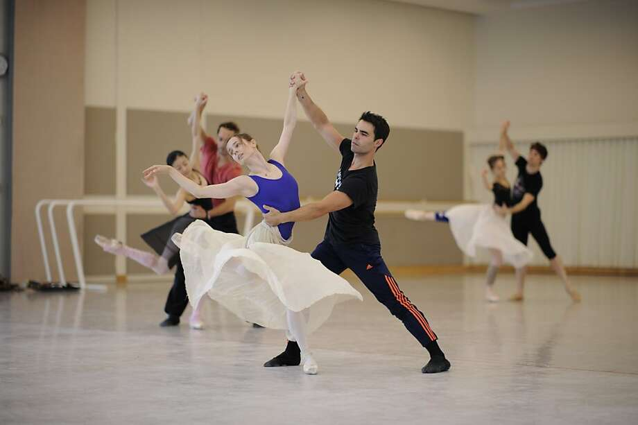 "San Francisco Ballet dancers Maria Kochetkova (left) and Joan Boada rehearse Christopher Wheeldon's ""Cinderella,"" part of the company's 2013 season. Photo: Erik Tomasson"