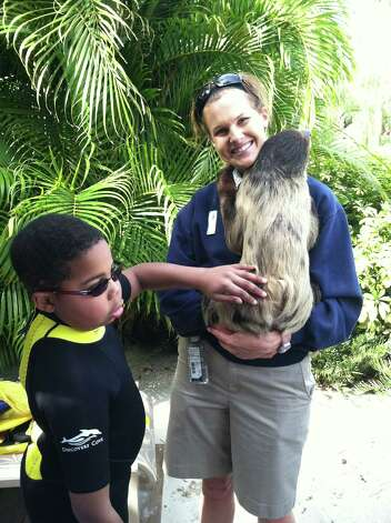 Myles McAdoo pets a sloth at Discovery Cove in Orlando, Fla. Myles McAdoo died Tuesday, July 24, 2012 after a recurrence of brain cancer, six months after the diagnosis. In that time in between he lived a full life. (Laurel McAdoo)