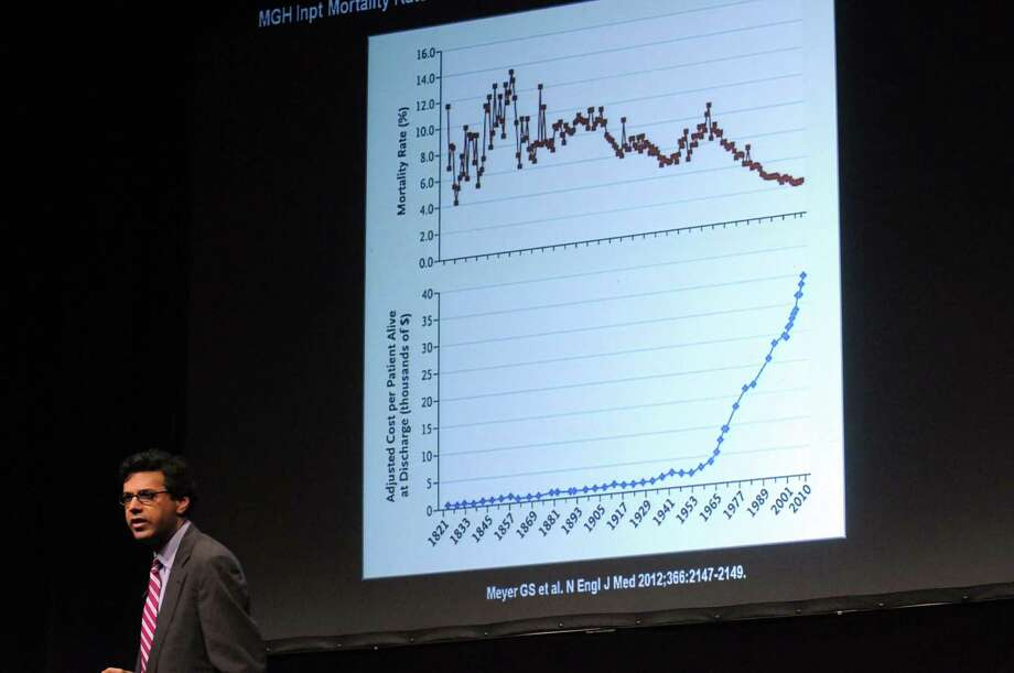 Dr. Atul Gawande, a surgeon and journalist who is known for health care reform, gives the keynote speech during Health Care in the 21st Century: A Community Call to Action a free public forum on health care reform, Wednesday night, Jan. 16,2013 , at the Egg in Albany, N.Y. (Michael P. Farrell/Times Union) Photo: Michael P. Farrell