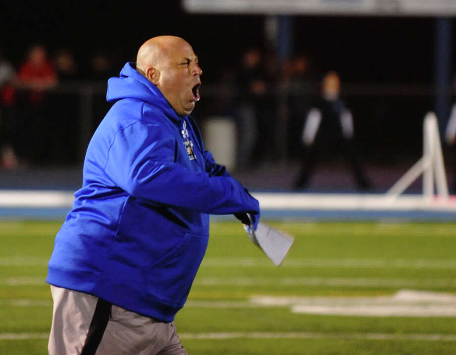Bunnell Head Coach Craig Bruno, during boys football action against Masuk in Stratford, Conn. on Friday October 5, 2012. Photo: Christian Abraham / Connecticut Post