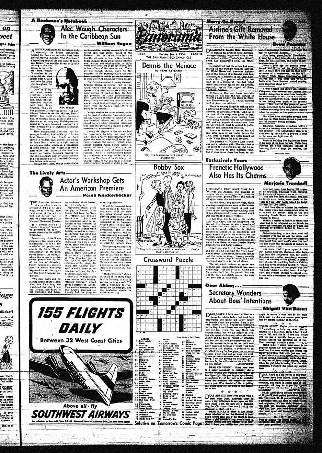 The full San Francisco Chronicle page on which Dear AbbyÕs first column appeared on Monday, January 9, 1956. Photo: The Chronicle