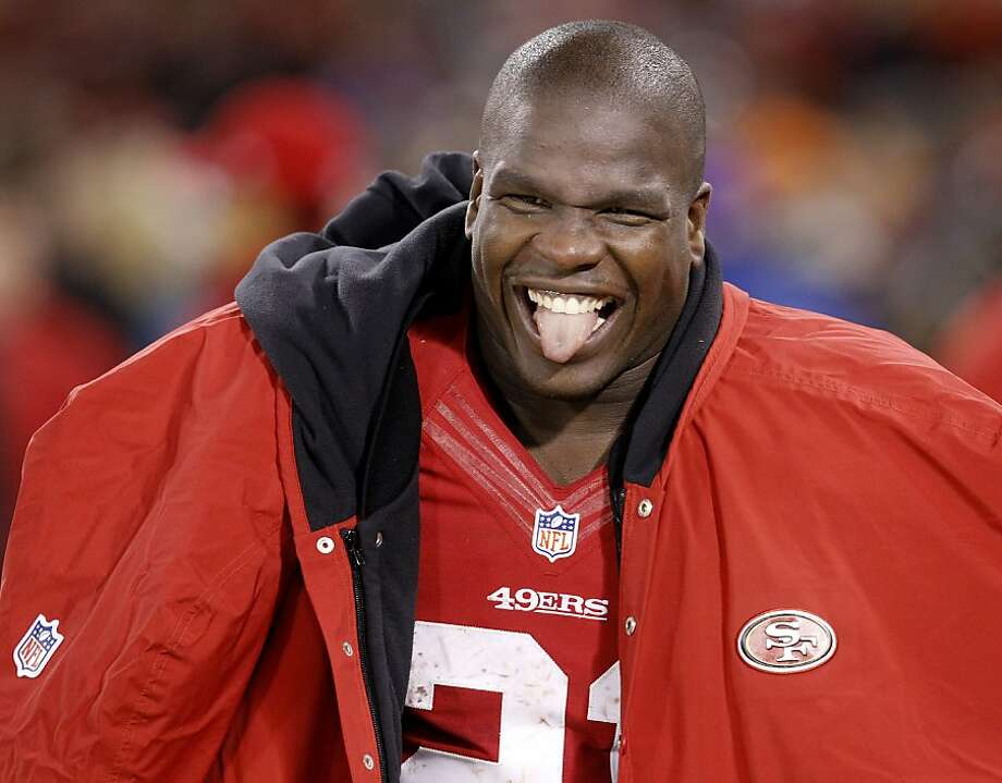 Frank Gore enjoys the final moments of Saturday's playoff win over Green Bay. Photo: Brant Ward, The Chronicle