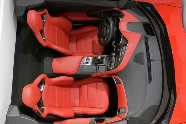 The interior of the Chevrolet Corvette Stingray is displayed at the North American International Auto Show in Detroit, Tuesday, Jan. 15, 2013. (AP Photo/Carlos Osorio) Photo: Carlos Osorio, Associated Press / AP