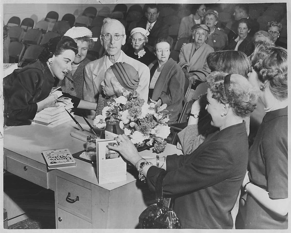 Photo of Abby at the Emporium Pauline Phillips .. aka Abigail Van Buren aka Dear Abby. Ran April 29 1958. Photo was taken: 04/23/1958.