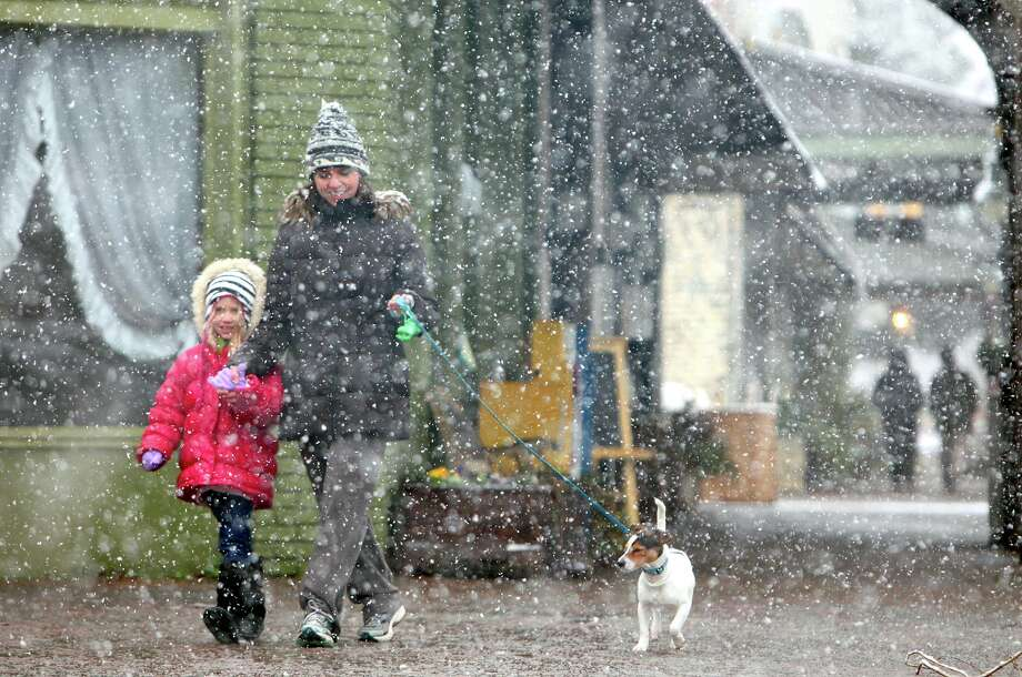 Ember Pedersen, 6, left, Lani Pedersen and their dog Tucker walk along Main Ave. in historic downtown Northport, Ala. Thursday, Jan. 17, 2013. A wet blanket of snow covered much of West Alabama Thursday morning. Photo: Dusty Compton, Associated Press / Tuscaloosa News
