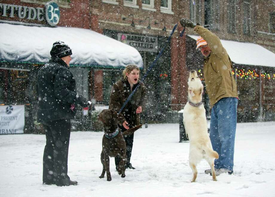 Casey Martin, center, along with Malinda and Butch Morrow play with their dogs in the snow Thursday, Jan. 17, 2013, in Knoxville, Tenn.  A winter storm was making its way across the Southeast on Thursday, dumping 4 inches of snow in Mississippi and playing a role in a traffic fatality there, with the system expected to spread across northern Georgia and into the Carolinas and Virginia, according to the National Weather Service. Photo: Adam Brimer, Associated Press / Knoxville News Sentinel