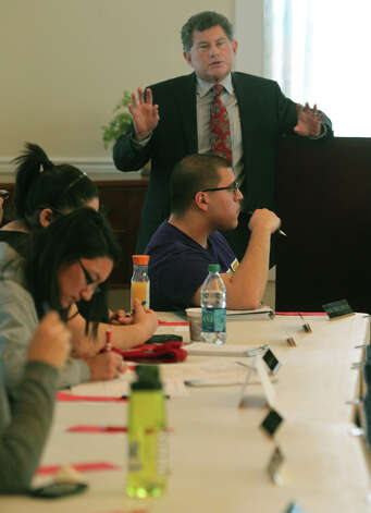 Jeffrey Kantor, OLLU's chief strategy and research officer, speaks to student leaders last week about the school's strategic plan for the coming years. Local universities have moved to prioritize programs emphasizing science and technology, along with professional degrees such as business administration. Photo: JOHN DAVENPORT, San Antonio Express-News / ©San Antonio Express-News/Photo Can Be Sold to the Public