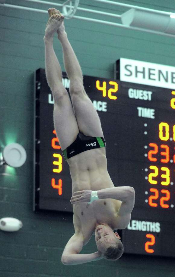 Shenendehowa's Adam Bonk competes in the diving portion during their meet against Shaker on Thursday Jan. 17,2013 in Clifton Park, N.Y. (Michael P. Farrell/Times Union) Photo: Michael P. Farrell