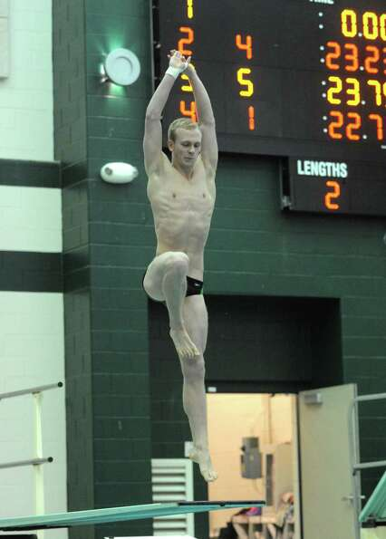 Shenendehowa's Adam Bonk competes in the diving portion during their meet against Shaker on Thursday