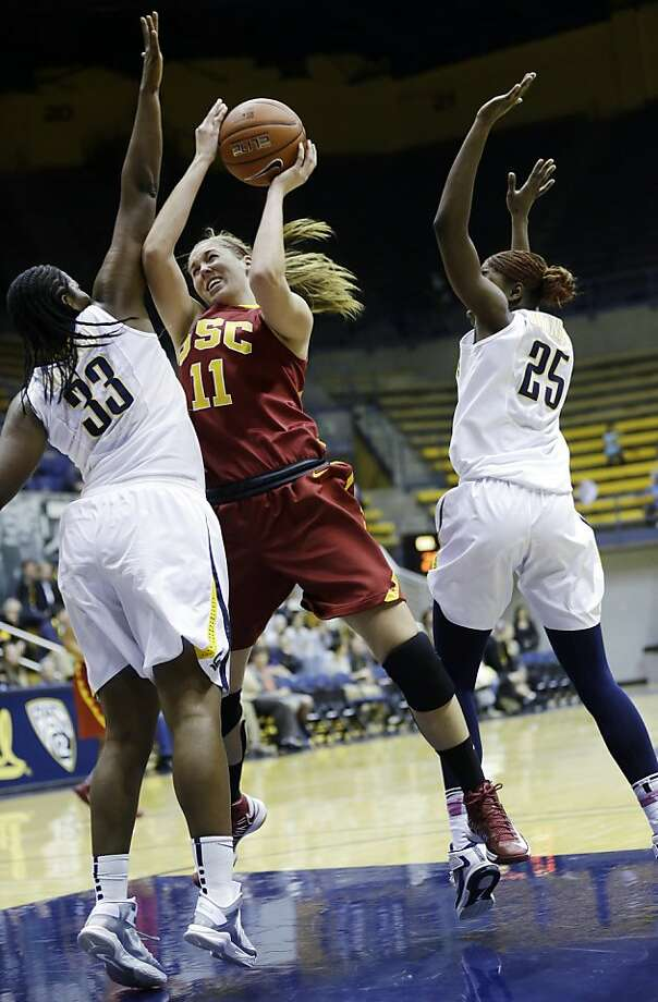 USC's Cassie Harberts shoots during the first half between Cal's Talia Caldwell (33) and Gennifer Brandon. Photo: Marcio Jose Sanchez, Associated Press