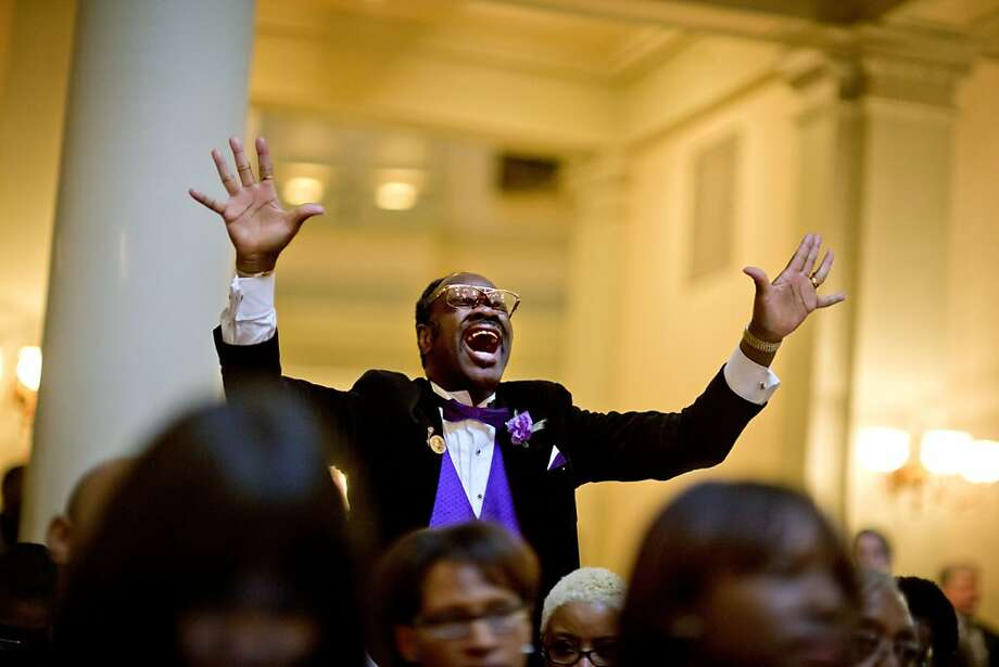 "Elder Cal Murrell, also known as ""the happy preacher,"" reacts during a service celebrating the Rev. Martin Luther King Jr., inside the State Capitol, Thursday, Jan. 17, 2013, in Atlanta. Photo: David Goldman, Associated Press"