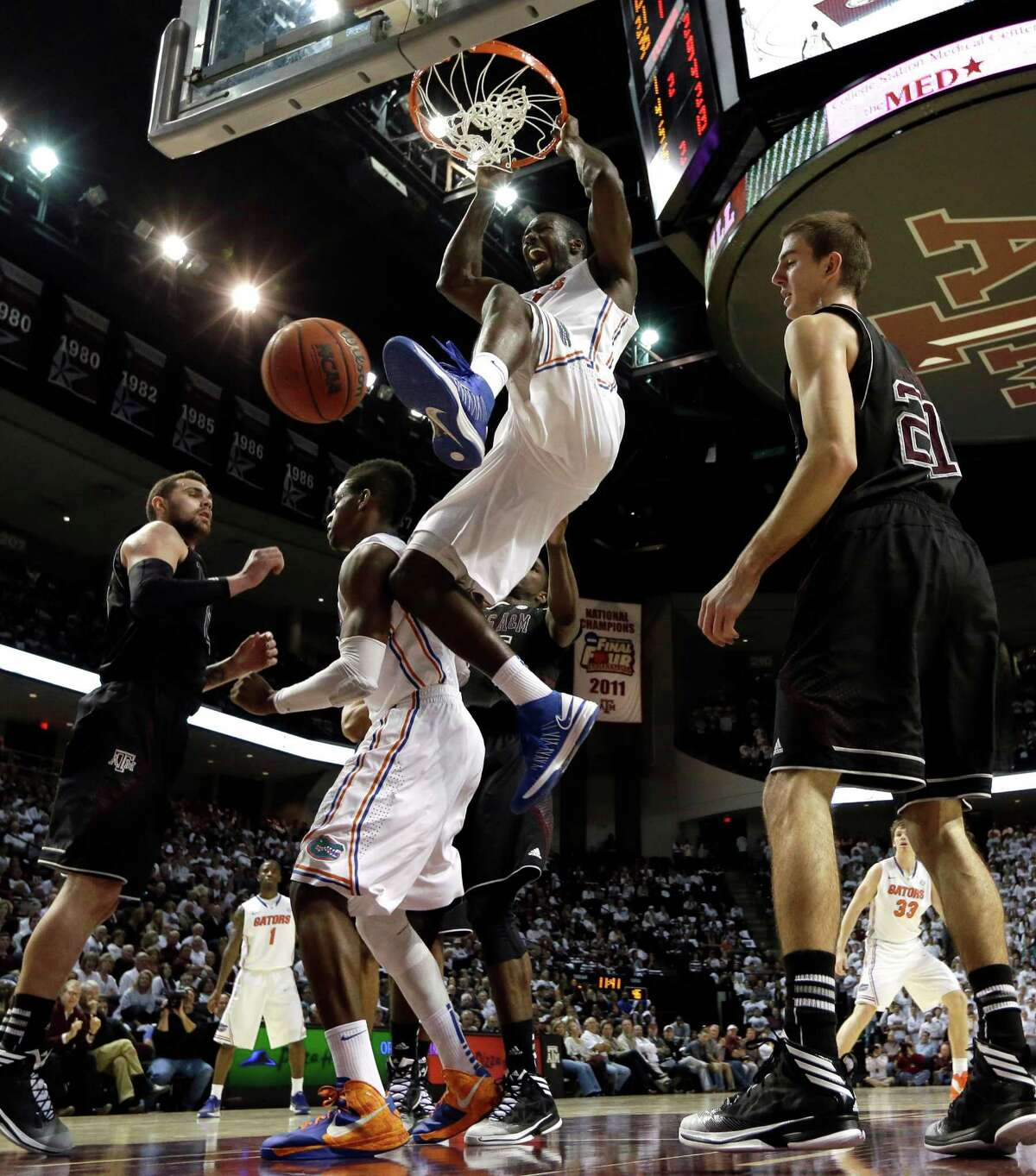Florida's Patric Young soars to two of his 18 points Thursday night.
