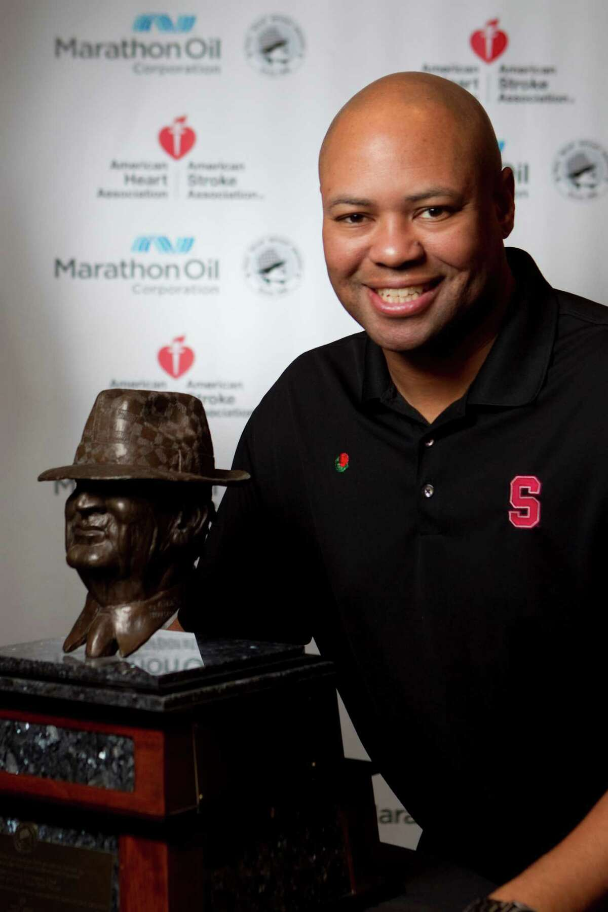 Stanford head coach David Shaw is a candidate for the 2013 Marathon Oil Corporation Paul 'Bear' Bryant Award, Thursday, Jan. 17, in Houston.