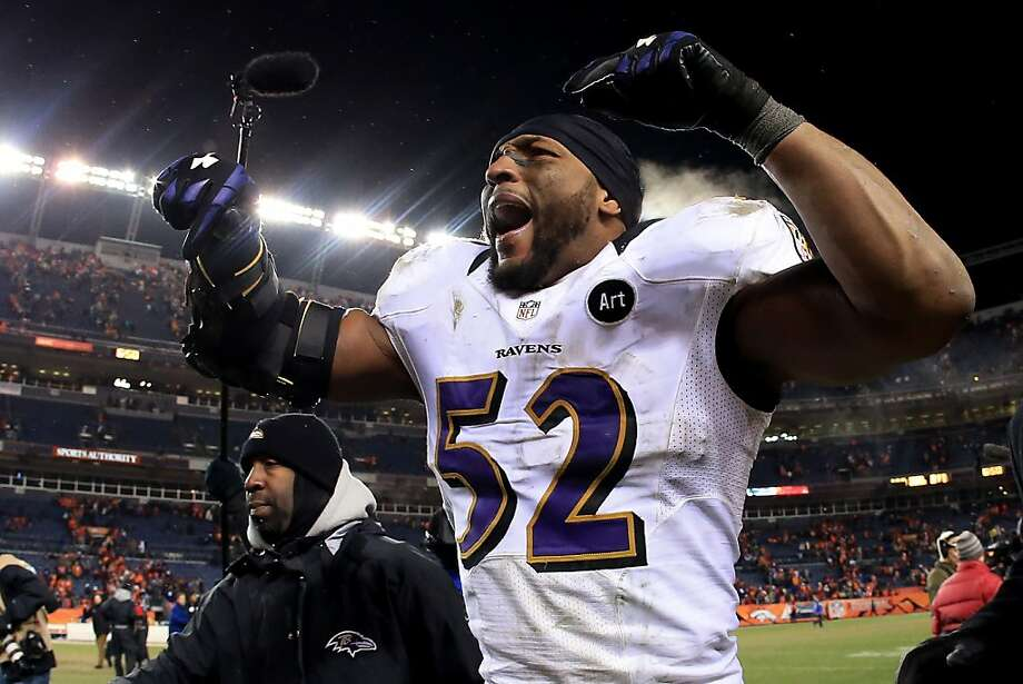 DENVER, CO - JANUARY 12:  Ray Lewis #52 of the Baltimore Ravens celebrates as he walks off of the field after the Ravens won 38-35 in the second overtime against the Denver Broncos during the AFC Divisional Playoff Game at Sports Authority Field at Mile High on January 12, 2013 in Denver, Colorado.  (Photo by Doug Pensinger/Getty Images) Photo: Doug Pensinger, Getty Images