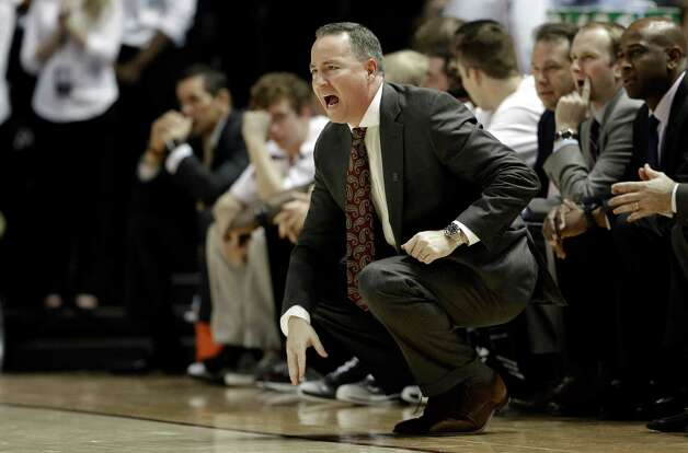 Texas A&M coach Billy Kennedy yells to his players during the second half of an NCAA college basketball game against Florida, Thursday, Jan. 17, 2013, in College Station, Texas. Florida defeated Texas A&M 68-47. (AP Photo/David J. Phillip) Photo: David J. Phillip, Associated Press / AP