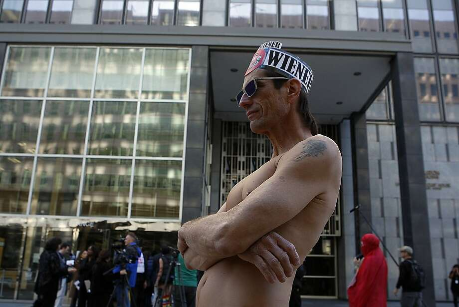 The nudists reportedly hope their activism will get them cited so they can claim their right to protest politically was violated. Photo: Sean Havey, The Chronicle