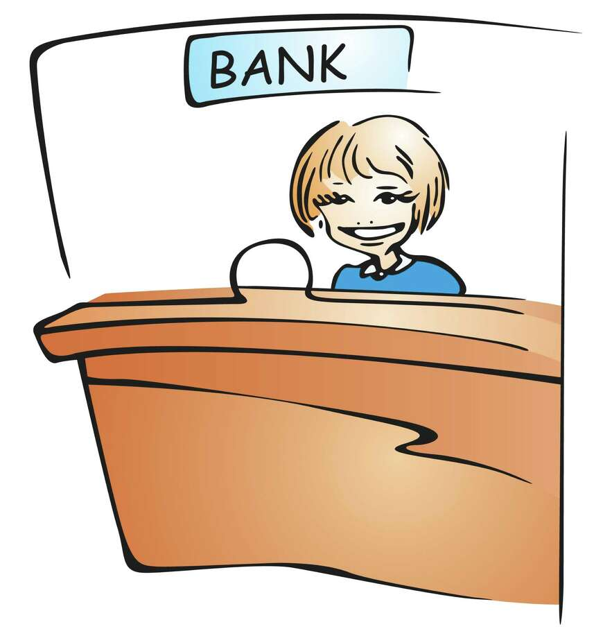 Smiling teller. Fotolia image / klipart.pl - Fotolia