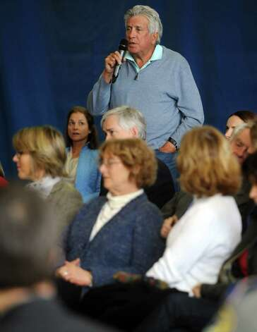 John Tamerin of Greenwich asks a question during a roundtable discussion about curbing gun violence at the Yerwood Community Center in Stamford on Thursday, January 17, 2013. Photo: Lindsay Perry / Stamford Advocate