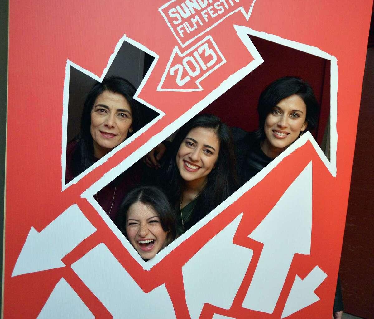 (L-R) Actors Hiam Abbass, Alia Shawkat and Nadine Malouf and director Cherien Dabis attend the