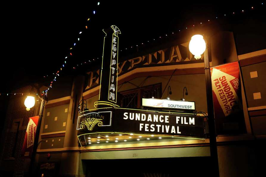 The marquee at the Egyptian Theatre on Main Street is seen at night during the 2013 Sundance Film Fe