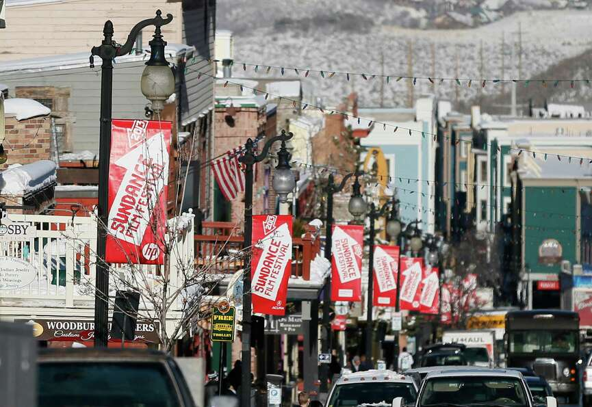 Banners hang above Main Street during the 2013 Sundance Film Festival on Thursday. (Photo by Danny M