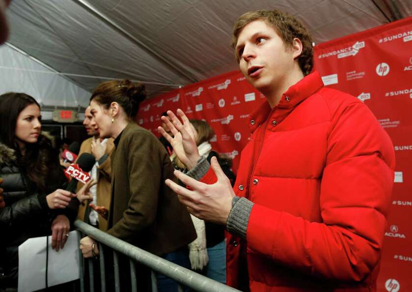 Cast members Michael Cera, right, and Gaby Hoffmann, left, are interviewed at the premiere of
