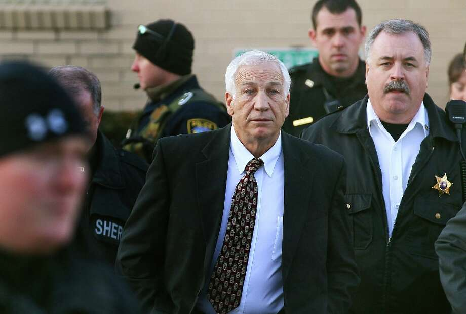 2011   Jerry Sandusky and the Penn State child sex-abuse scandalIn November 2011, after a three-year investigation, Penn State assistant football coach Jerry Sandusky (pictured) was indicted on 40 counts of sexual crimes against young boys, including sexual assault in the football program's locker rooms. It was learned that the head coach, Joe Paterno, had known about Sandusky's conduct -- as did other members of the football staff and university administration. Paterno was fired and died of lung cancer in January 2012, and Sandusky was sentenced in October 2012 to 30 to 60 years in prison. Three other Penn State officials were charged in the cover-up. The school was also heavily sanctioned by the NCAA. Photo: Mark Wilson, Getty Images / 2011 Getty Images